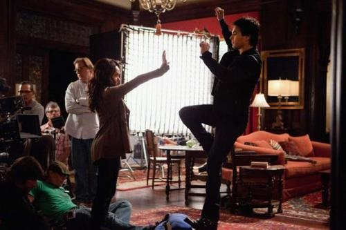 Bonnie and Damon on the set