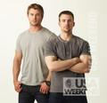 Chris Evans and Chris Hemsworth in USA Weekend