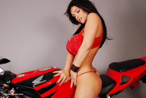 Denise Milani with bike