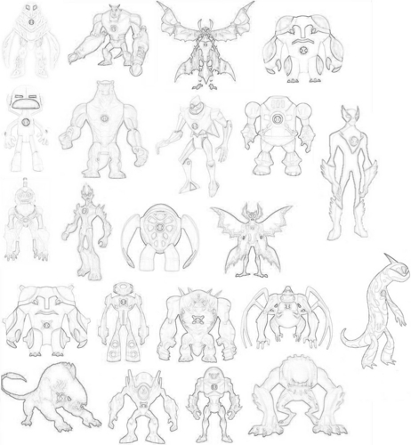 Ben 10: Ultimate Alien achtergrond titled Drawing Of All Of The Aliens