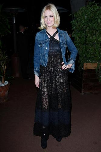 January Jones wallpaper possibly containing an outerwear called February 26 / Chanel & Charles Finch Pre-Oscar Dinner Celebrating Fashion & Film