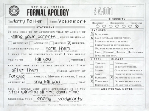 A formal apology to Harry Potter from Lord Voldemort *funny*
