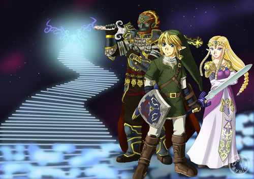 Link, Zelda and Ganondorf in Brawl