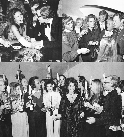 Michael Caine At Elizabeth Taylors 40th Birthday Party