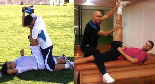Nadal and Piqué: the same movements they are doing well !
