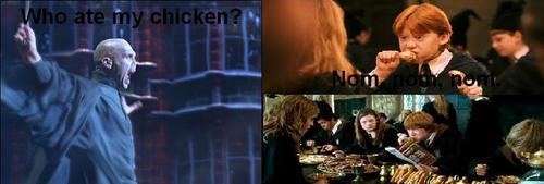 Harry Potter Vs. Twilight wallpaper possibly containing a business suit entitled Ron Eats Voldemort's Chicken