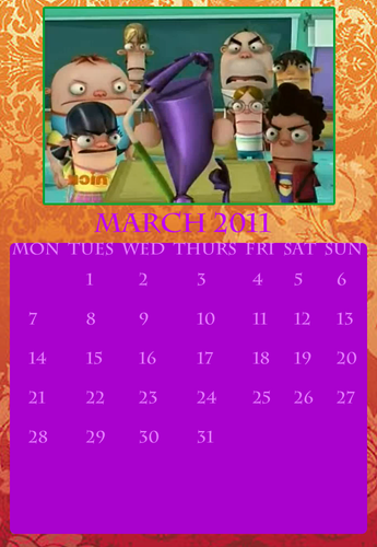 Fanboy ''N'' Chum Chum karatasi la kupamba ukuta probably with a sign and anime called fbacc calendar march 2011