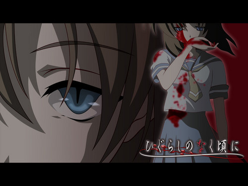 Higurashi no Naku Koro ni wallpaper possibly containing anime entitled rena blood