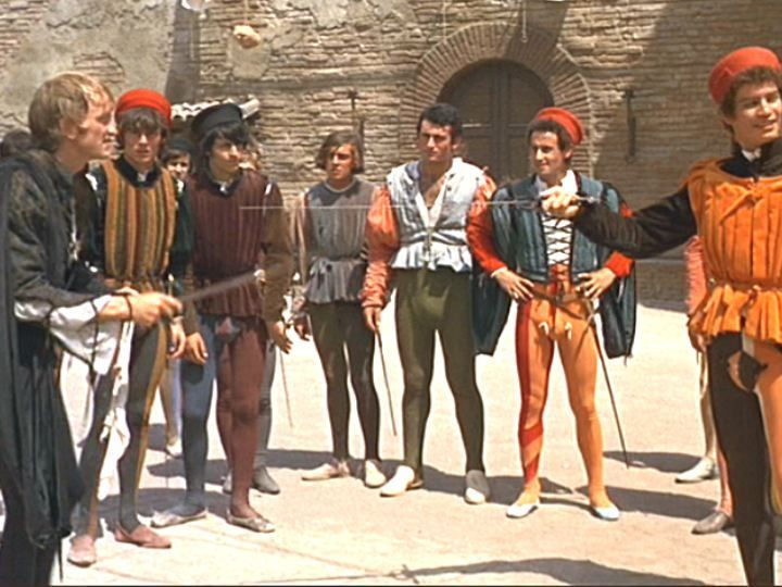 the battle between tybalt and mercutio I suspect zeffirelli was commenting on the transition between boyhood and  adulthood in the context of consequences, and how easily a simple.