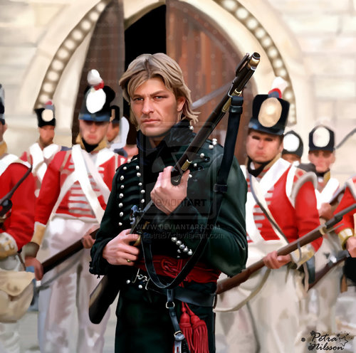 Sean Bean wallpaper with a green beret, regimentals, and a full dress uniform entitled A portrait of Sean Bean as Sharpe