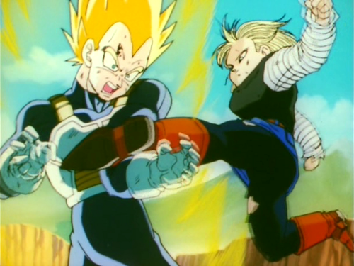 Android 18 whipping Vegeta's ezel