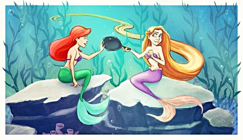 Walt disney fan Art - Princess Ariel & Princess Rapunzel