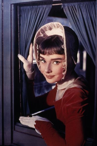Audrey Hepburn wallpaper possibly containing an outerwear, a sign, and a hood called Audrey Hepburn