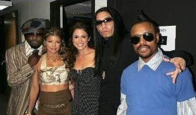 """BTS фото of Nikki Reed with """"The Black Eyed Peas"""""""