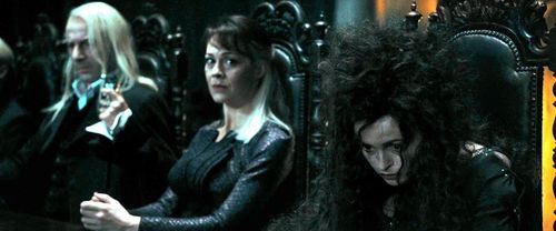 Bellatrix Lestrange with sister Narcissa Malfoy and Lucius
