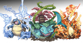 Charizard, Venasaur & Blastoise