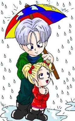 Chibi Trunks and Marron in the rain
