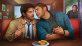 Dessert for Two - dean-castiel-and-sam fan art