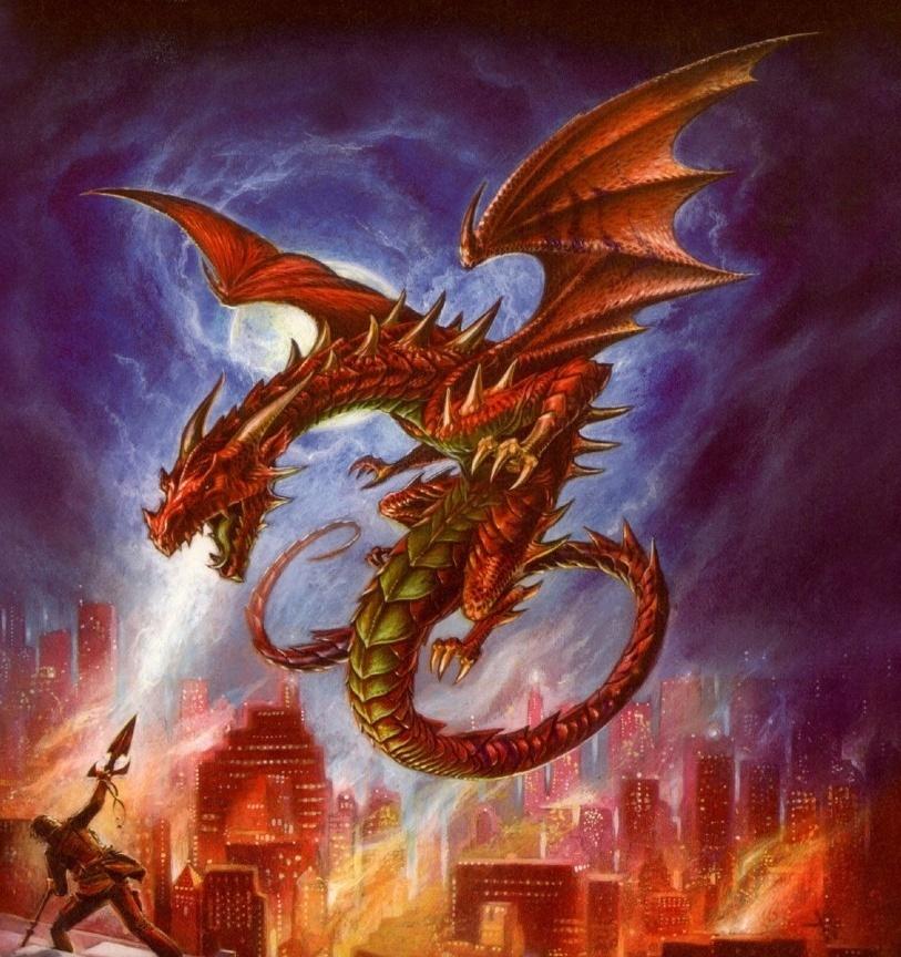 Dragon attacking