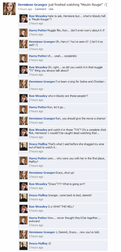 Гарри Поттер против Сумерек Обои entitled HP Facebook convos