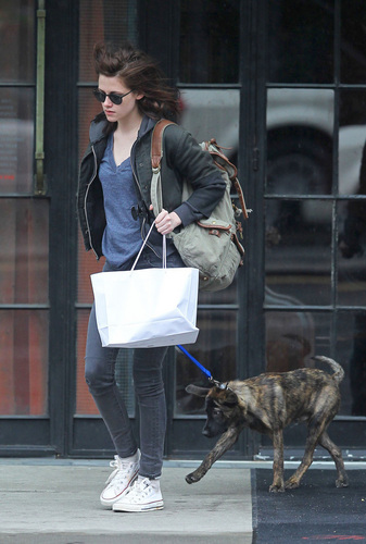 Kristen with menanggung, bear in NYC