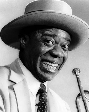 Jazz wallpaper with a fedora titled Louis Armstrong