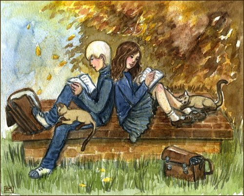 Rose and Scorpius fond d'écran entitled Nerds in Autumn