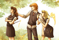 "Ron Hermione... and ""the other"" - romione fan art"