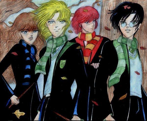 Rose Weasley, Scorpius Malfoy, Hugo Weasley and Albus severus Potter