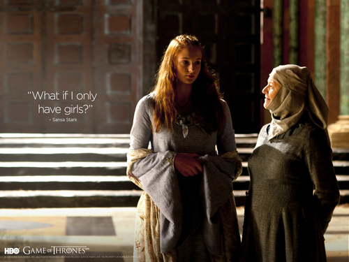 Game of Thrones پیپر وال probably with a street, an outerwear, and a sign entitled Sansa & Septa Mordane