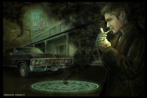 dean winchester wallpaper possibly containing a dishwasher, a sign, and a rua entitled Saving People, Hunting Things
