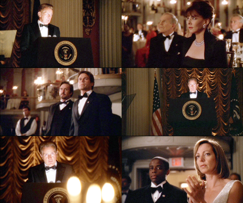 The West Wing wallpaper probably with a drawing room, a lectern, and a brasserie entitled Season 4
