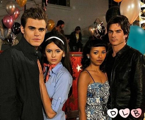 Damon & Bonnie wallpaper probably with a street titled Stefan, Elena, Bonnie, Damon