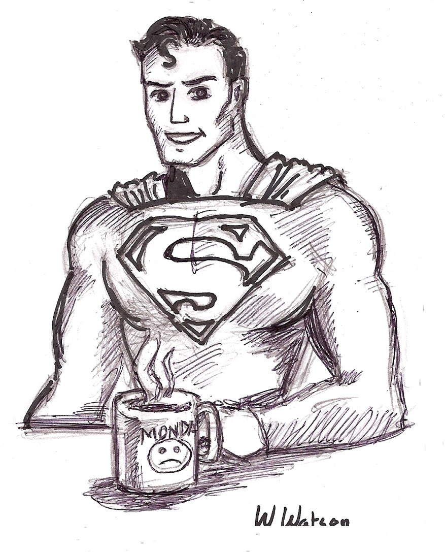 Cartoon drawing superman's monday