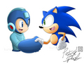 megaman & sonic shaking hands