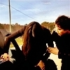 Delena & Forwood photo probably with a horse wrangler entitled Damon & Elena <3