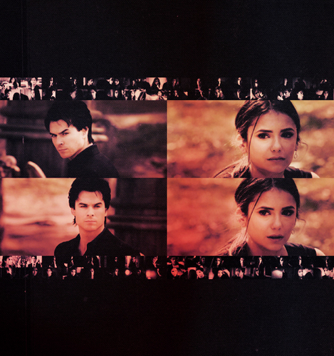 Delena & Steferine wallpaper possibly with a sign titled Damon & Elena <3