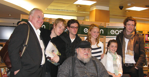 George R.R. Martin with cast