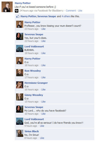 Harry Potter Vs. Twilight wolpeyper entitled HP Facebook convos