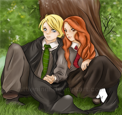 Draco and Ginny wallpaper called amor Under the árvore