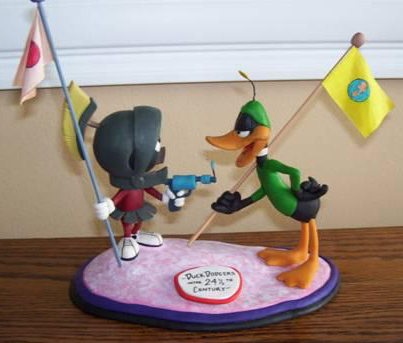 Marvin Martian & Daffy itik Sculpture