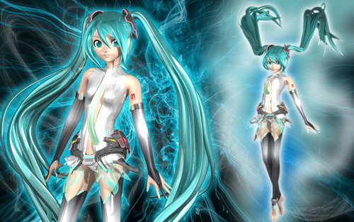hatsune miku wallpaper probably containing a air mancur titled Miku Append