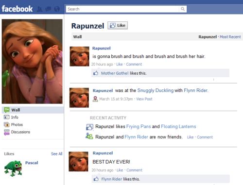 Rapunzel's Facebook page
