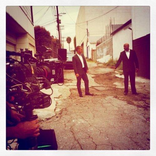 Sam & G- on set
