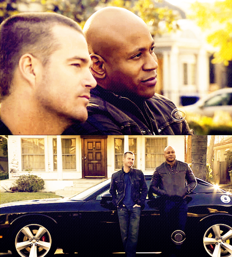 NCIS: Los Angeles 壁纸 probably containing a street, a sedan, and a sign called Sam and Callen