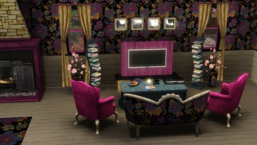 The Sims 3 wallpaper containing a living room, a family room, and a drawing room entitled my house in sims 3