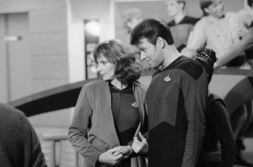 Star Trek-The Next Generation wallpaper probably with a business suit and a street entitled Behind The Scenes