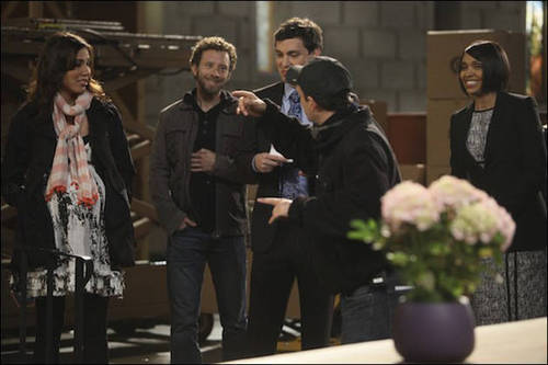 """Bones wallpaper containing a business suit titled Behind the Scenes of Bones Season 6, Episode 22: """"The Hole in the Heart"""""""
