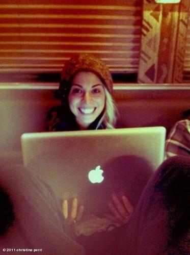 Christina on a laptop