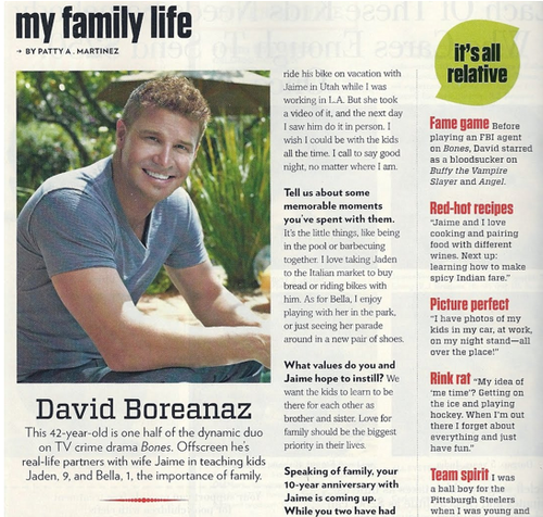 David Boreanaz Interview: Family বৃত্ত Magazine Scan (June 2011)